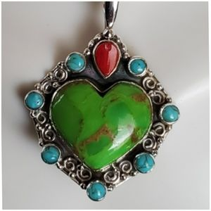 Jewelry - Genuine Green Turquoise Heart Pendant/Necklace